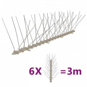 Kolce przeciw ptakom, 4 rzędy, plastikowe, 6 szt., 3 m