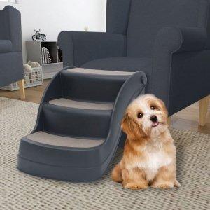 Składane, 3-stopniowe schodki dla psa, ciemnoszare