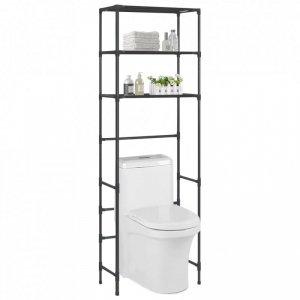 3-poziomowy regał nad toaletę, czarny, 53x28x169 cm