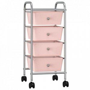 Wózek z 4 szufladami, różowy, plastikowy