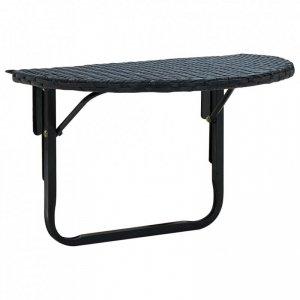Stolik balkonowy, 60x60x32 cm, czarny, rattan PE