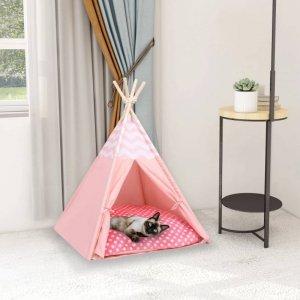 Namiot tipi dla kota, z torbą, peach skin, różowy, 60x60x70 cm