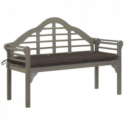 Ławka ogrodowa Queen z poduszką, 135 cm, drewno akacjowe, szara