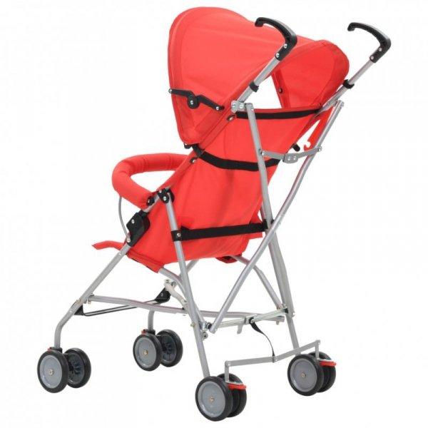 Składany wózek spacerowy, czerwony, stal