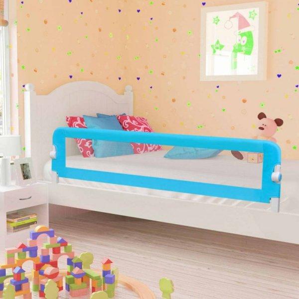 Barierka do łóżeczka dziecięcego, niebieska 180x42 cm poliester