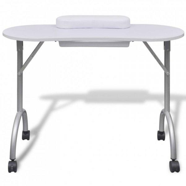 Składany stolik do manicure z kółeczkami, biały