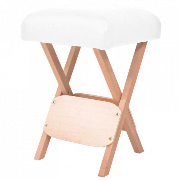 Składany stołek do masażu, grubość siedziska 12 cm, biały
