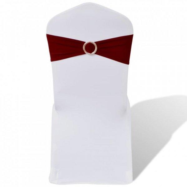 25 bordowych, dekoracyjnych pasów na krzesła z diamentową klamrą