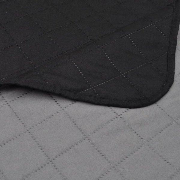 Dwustronna pikowana narzuta na łóżko Czarna/Szara 220 x 240 cm