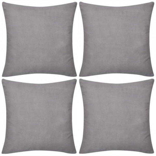 4 Szare bawełniane poszewki na poduszki 40 x 40 cm