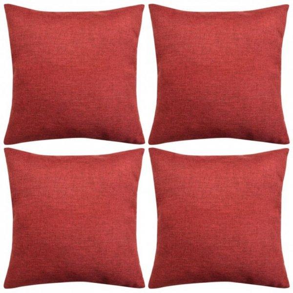 Poszewki na poduszki 4 szt. lniane, burgundowe 50x50 cm