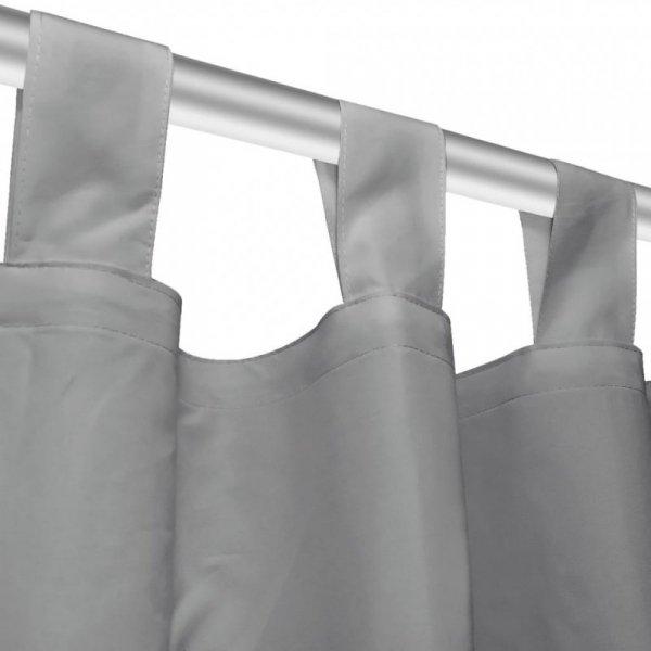 Zasłony z mikrosatyny, z pętelkami, 2 szt., 140x175 cm, szare