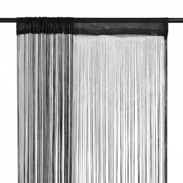 Zasłony sznurkowe, 2 sztuki, 140 x 250 cm, czarne