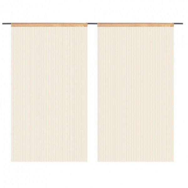 Zasłony sznurkowe, 2 sztuki, 140 x 250 cm, beżowe