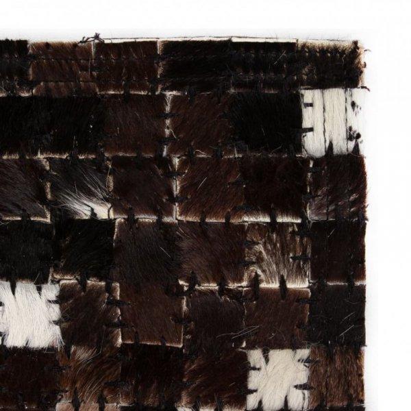 Patchworkowy dywan ze skóry bydlęcej, 120x170 cm, czarno-biały