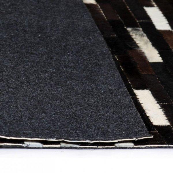 Dywan ze skóry, patchwork w paski, 80x150 cm, czarno-biały