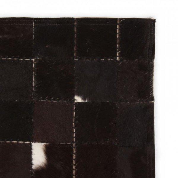 Dywan ze skóry, patchwork w kwadraty, 80x150 cm, czarno-biały