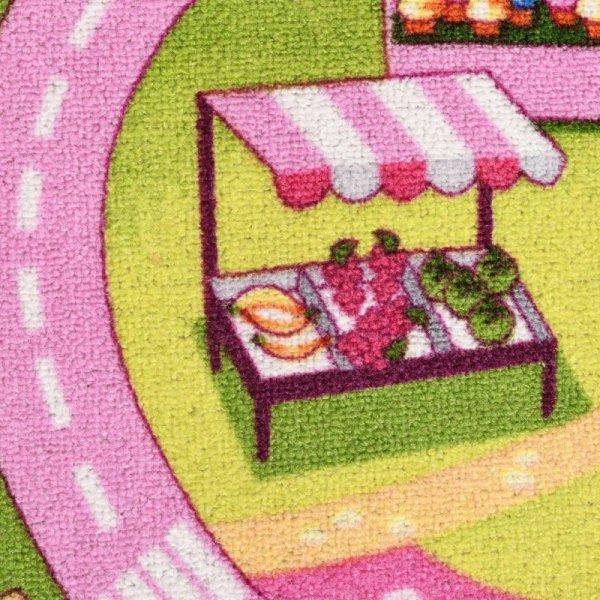 Dywanik do zabawy, wzór cukierkowe miasto, 80x120 cm