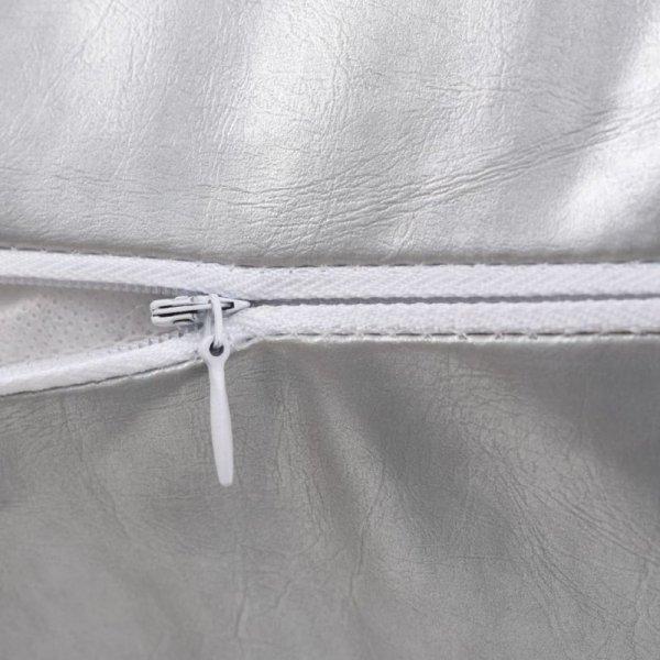 2-częściowy zestaw poduszek, PU, 45x45 cm, srebrny