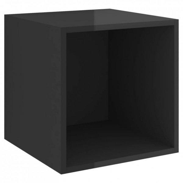 4-cz. zestaw szafek TV, wysoki połysk, czarny, płyta wiórowa