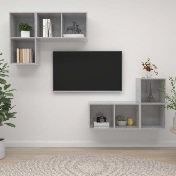 Wiszące szafki TV, 4 szt., szarość betonu, płyta wiórowa