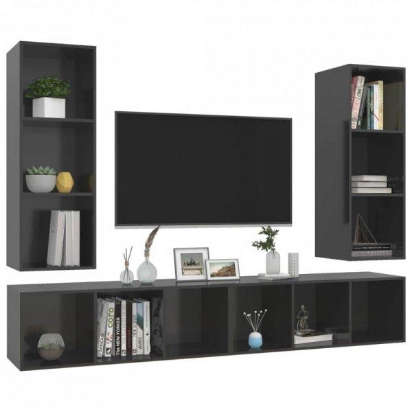 Wiszące szafki TV, 4 szt., wysoki połysk, szare, płyta wiórowa