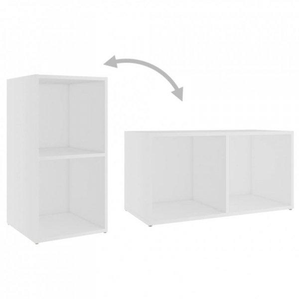 Szafki telewizyjne, 2 szt., białe, 72x35x36,5 cm, płyta wiórowa