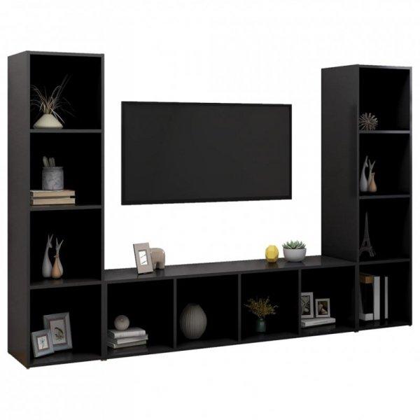 Szafki TV, 3 szt., czarne, 142,5x35x36,5 cm, płyta wiórowa