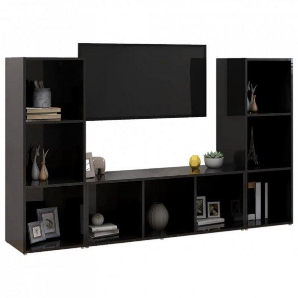 Szafki TV, 3 szt., czarne na wysoki połysk, 107x35x37 cm, płyta