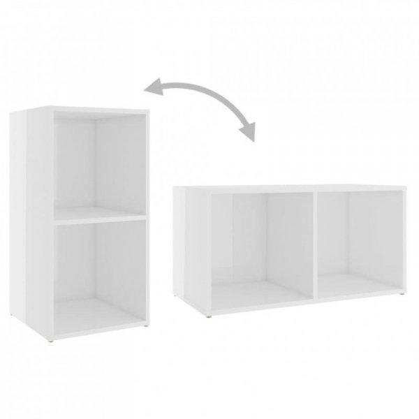 4-cz. zestaw szafek TV, wysoki połysk, biały, płyta wiórowa