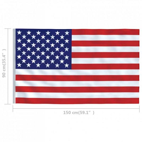 Flaga USA z aluminiowym masztem, 4 m