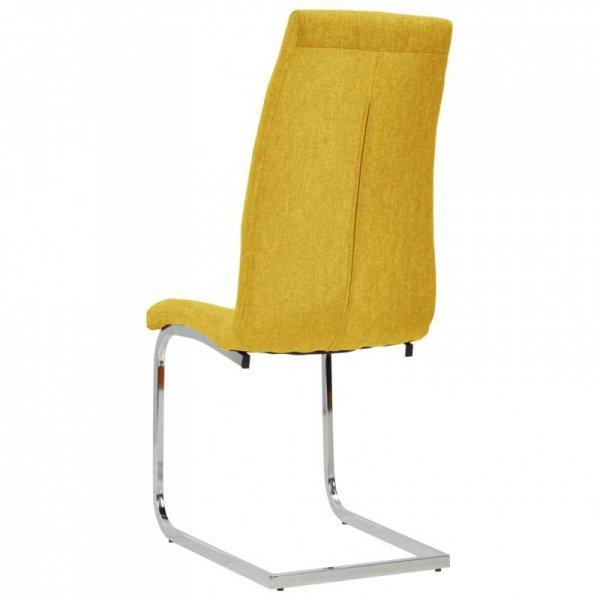 Wspornikowe krzesła stołowe, 6 szt., żółte, obite tkaniną