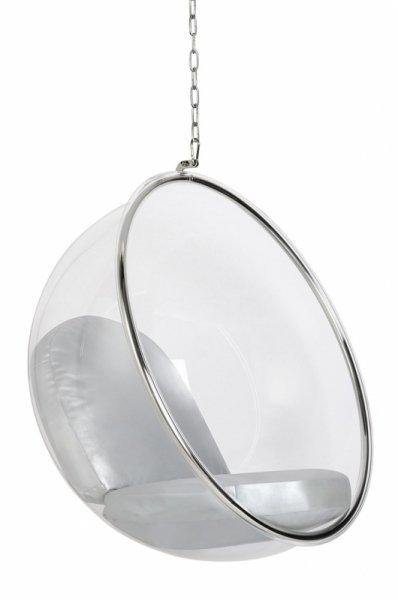 Fotel wiszący BUBBLE poduszka srebrna - korpus akryl, poduszka ekoskóra