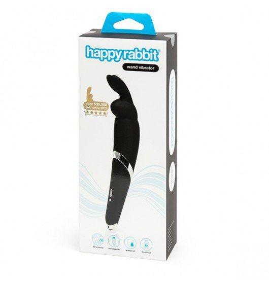 Wibrator króliczek - Masażer różdżka - Happy Rabbit Wand Vibrator Black