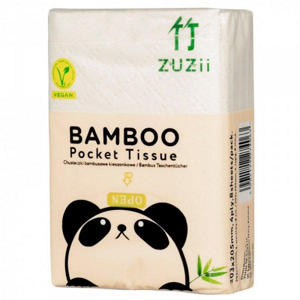 Higieniczne chusteczki bambusowe 4-warst. kieszonkowe Zuzii, 8szt.