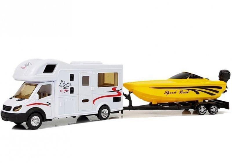 Camper z  Żółtą Motorówką i Napędem Frykcyjnym 1:48