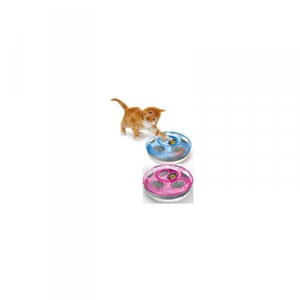 YARRO Zabawka dla kota Gonitwa UFO z 2 piłkami, śred. 25cm, różowa [Y10605 RÓŻ]