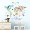 Duże Naklejki  Kolorowa Mapa Świata Zwierzęta