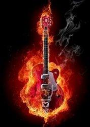 Fire guitar - fototapeta