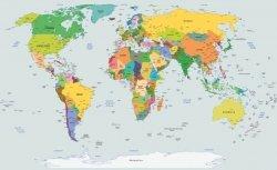 Fototapeta World Map Mapa Świata L flizelinowa