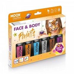 Zestaw farb do twarzy i ciała 6x12ml gąbka i pędzelek NEW