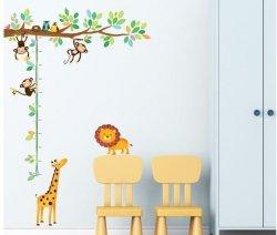 Miarka wzrostu Gałąź z Małpkami i Sowami Lew i Żyrafa