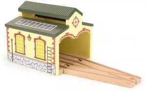 Parowozownia zajezdnia drewniana dla dwóch parowozów