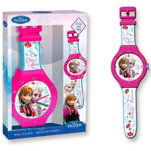Zegar ścienny Kraina Lodu Elsa i Anna jak ręczny