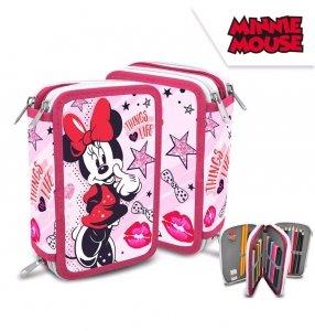 Piórnik potrójny z wyposażeniem fioletowy Myszka Mini Minnie Mouse Disney