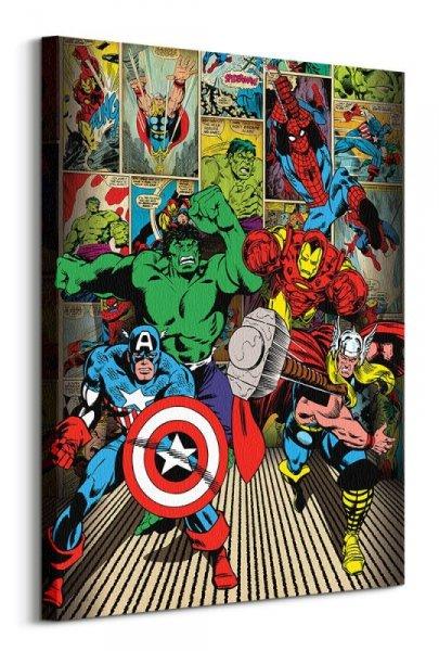 Marvel Comics Here Come The Heroes - obraz na płótnie