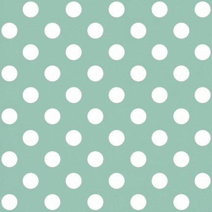 Tapeta miętowa w białe grochy - zielona