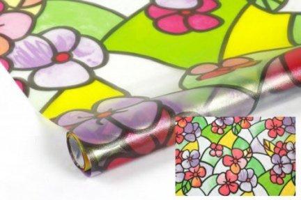Modish Statyczna folia okienna Witraż 90x150 Kolorowe Kwiaty KZ57