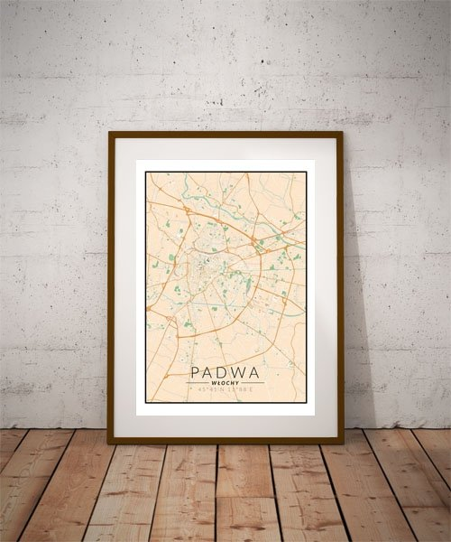 Padwa, Włochy mapa kolorowa - plakat