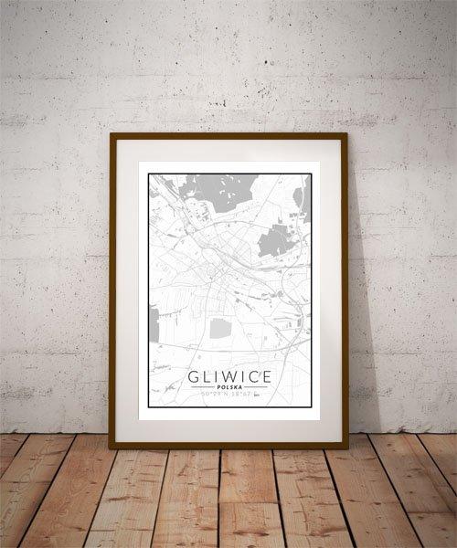 Gliwice, Polska mapa czarno biała - plakat